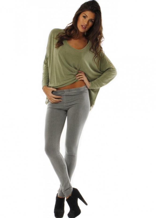 A Postcard From Brighton Leggings Grey Stretch Fit Jersey Leggings