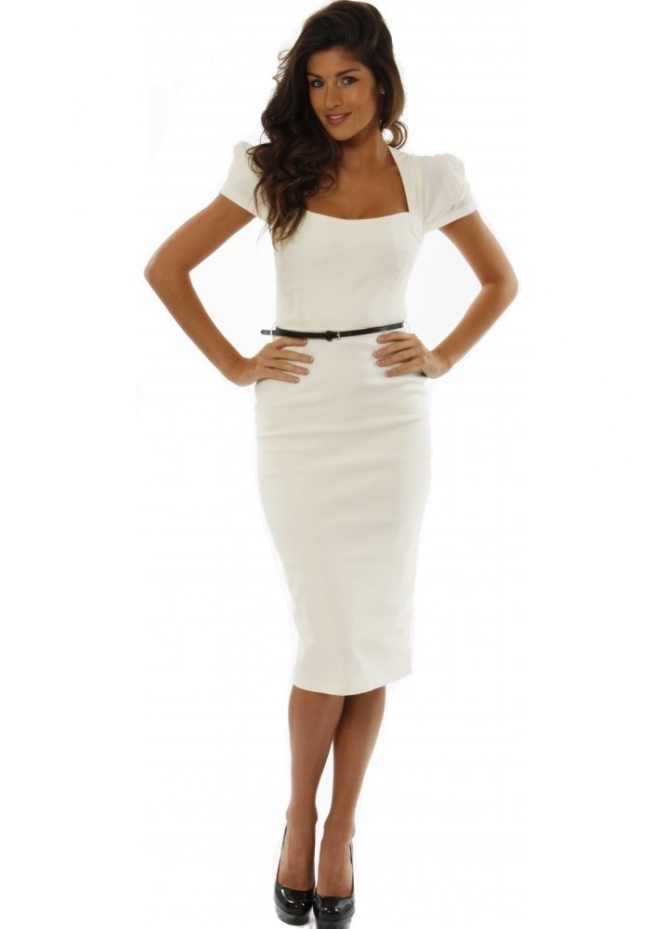The Pretty Dress Company Dress Ivory Belted Icon Pencil ...