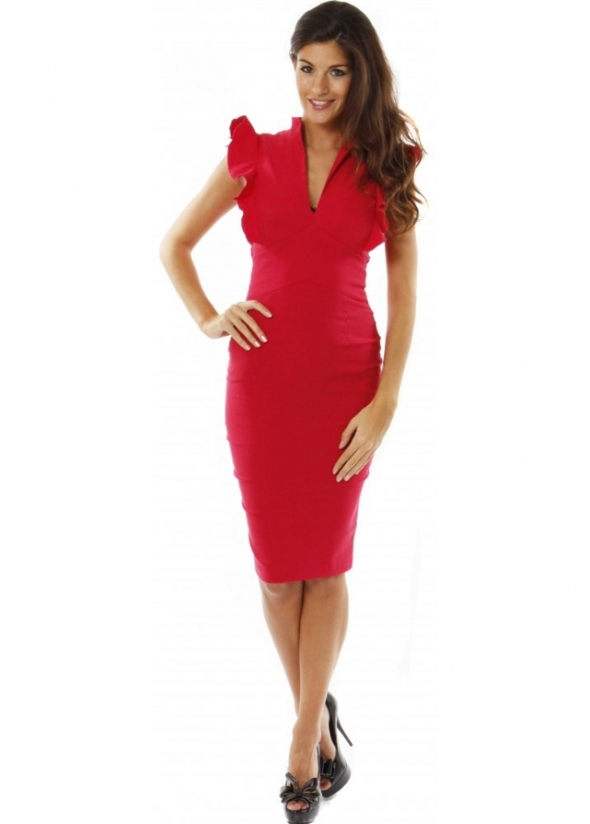 Hybrid Dress Raspberry Pink Stretch Frill Sleeve Pencil Dress
