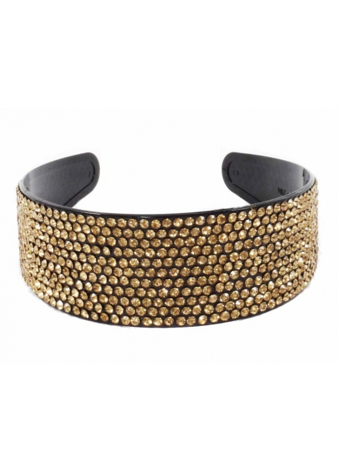 Designer Desirables Hair Band Gold Crystal Embellished Alice Band
