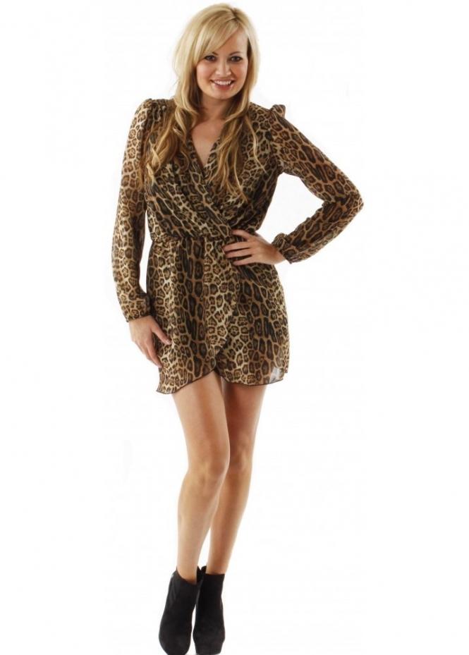Love Leopard Wrap Dress Love Label Leopard Print Dress