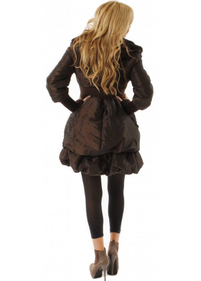 Designer Brown Puffa Coat | Designer Fur Collar Puffa Coat ...