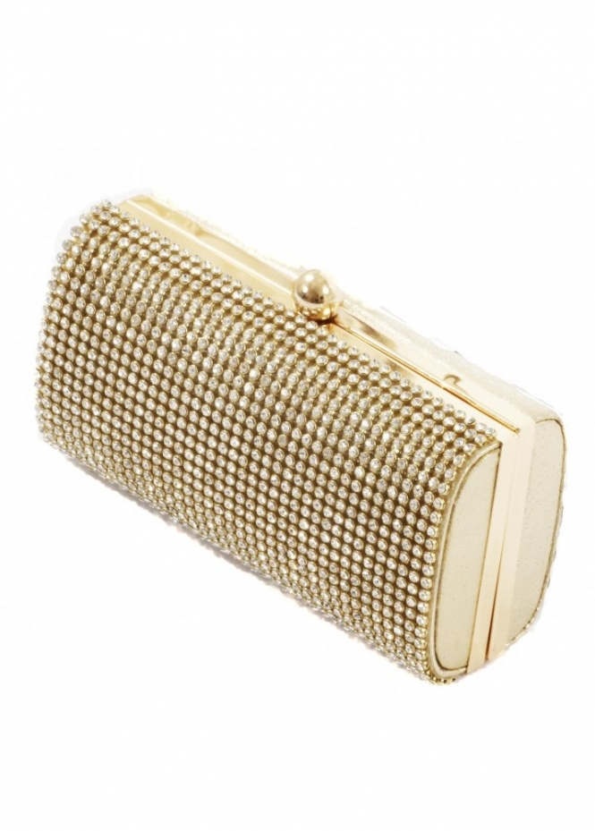 KoKo Clutch Crystal Embellished Gold Clutch Box Bag