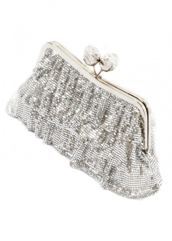KoKo Clutch Chainmail Frill Crystal Clasp Evening Clutch Bag