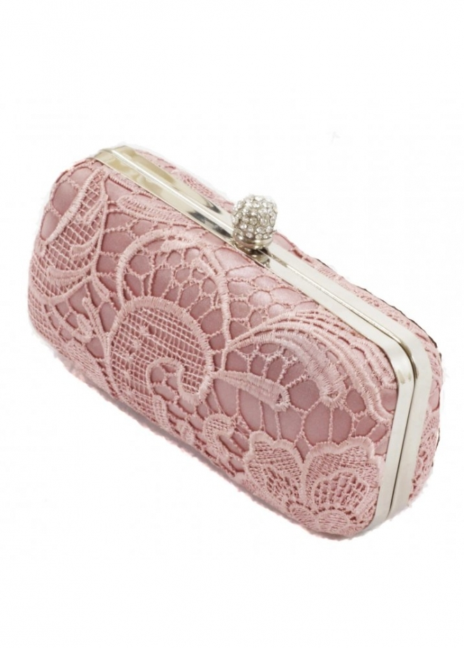 KoKo Bag Rose Pink Lace Detail Crystal Clasp Box Clutch Bag