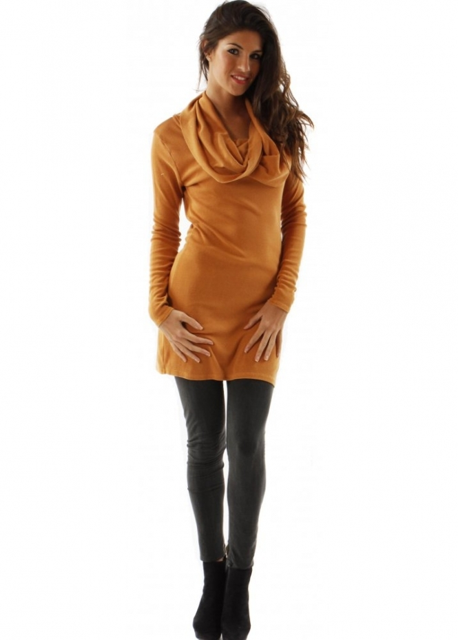 A Postcard From Brighton Dress Kara Cowl Neck Fine Knit Amber Tunic Dress
