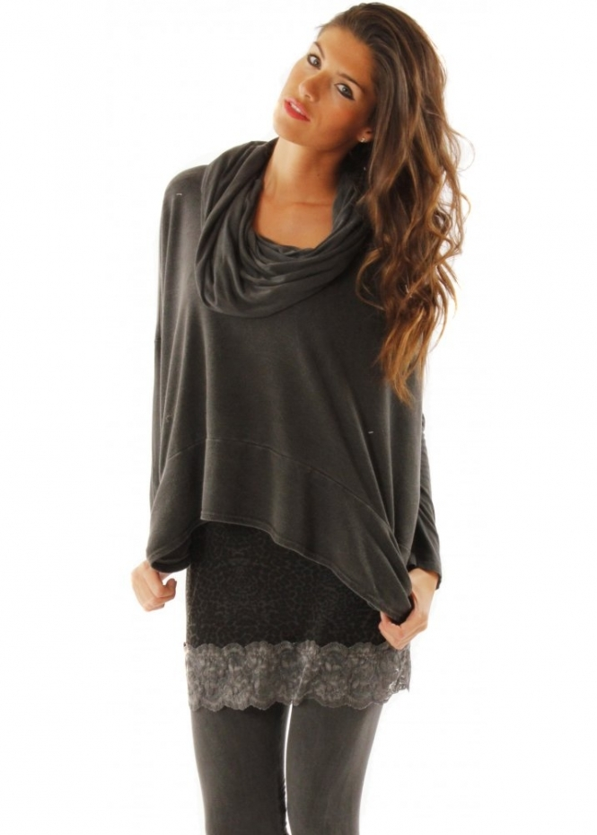 Top Debbie Charcoal Grey Hooded Sweat Top