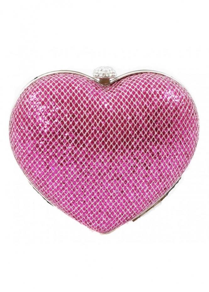 KoKo Bag Pink Sequin Embellished Heart Clutch Bag