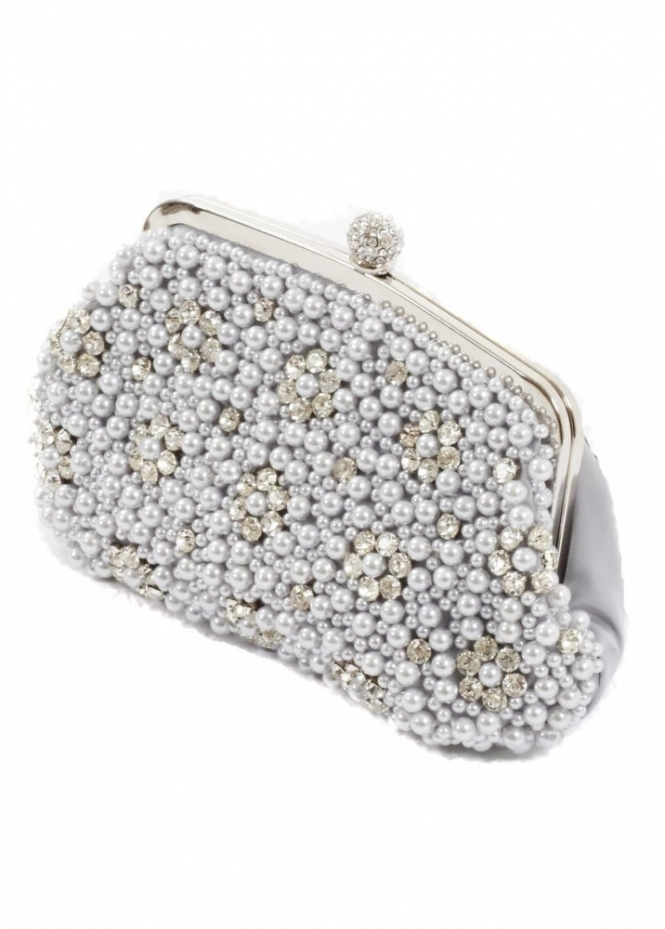 KoKo Clutch Pearl & Crystal Clasp Evening Satin Evening Bag