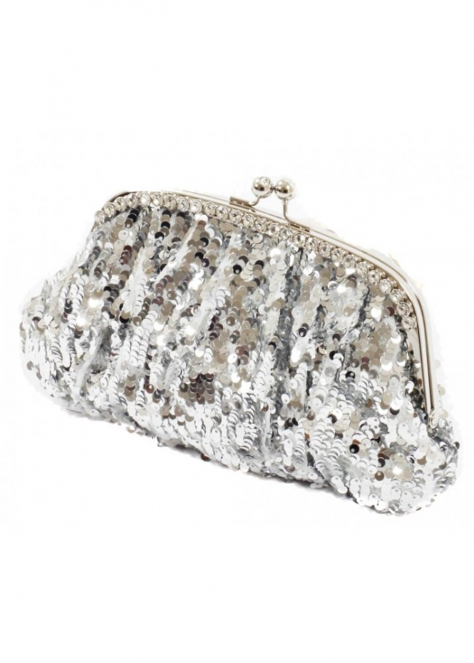 KoKo Bag Silver Sequin Embellished Purse Clutch