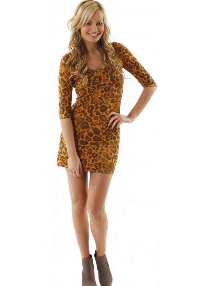 A Postcard From Brighton Top Gloria Finella Amber Leopard Print Mini Tunic Dress