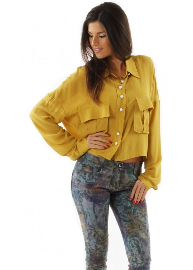 One Teaspoon Shirt Folk Crepe Cropped Mustard Blouse