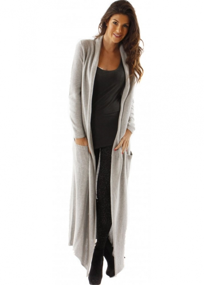 YLondon Cardigan Grey Cotton Knit Maxi Cardigan
