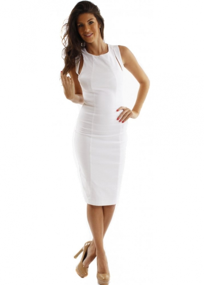 Hybrid Dress Alessa Cut Out White Pencil Dress As Seen On Jessica Wright