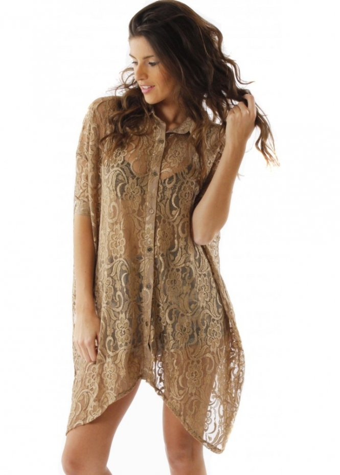 Evil Twin Shirt Sovereign Lace Gold Effect Oversized Shirt