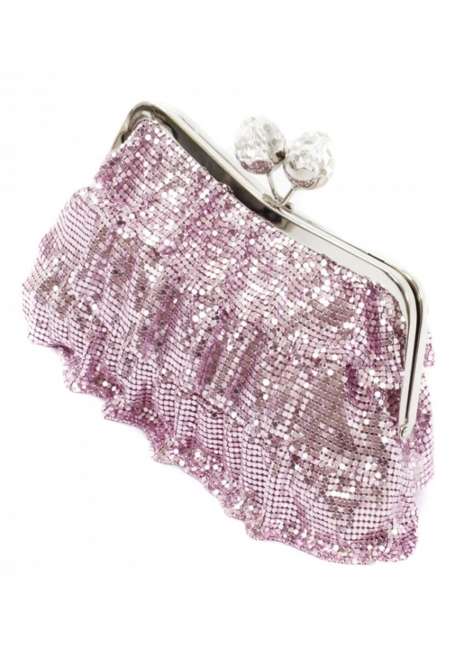 KoKo Clutch Chainmail Frill Crystal Clasp Pink Evening Clutch Bag