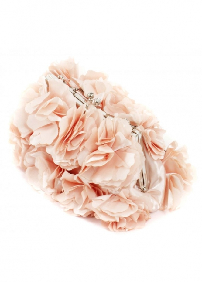 KoKo Bag Silky Satin Petal Rosettes Pale Peach Small Evening Bag