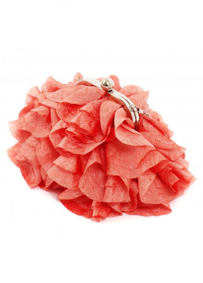 KoKo Bag Silky Satin Petals Coral Evening Bag