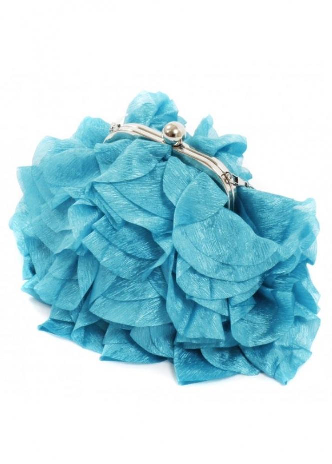 KoKo Bag Silky Satin Petals Turquoise Evening Bag