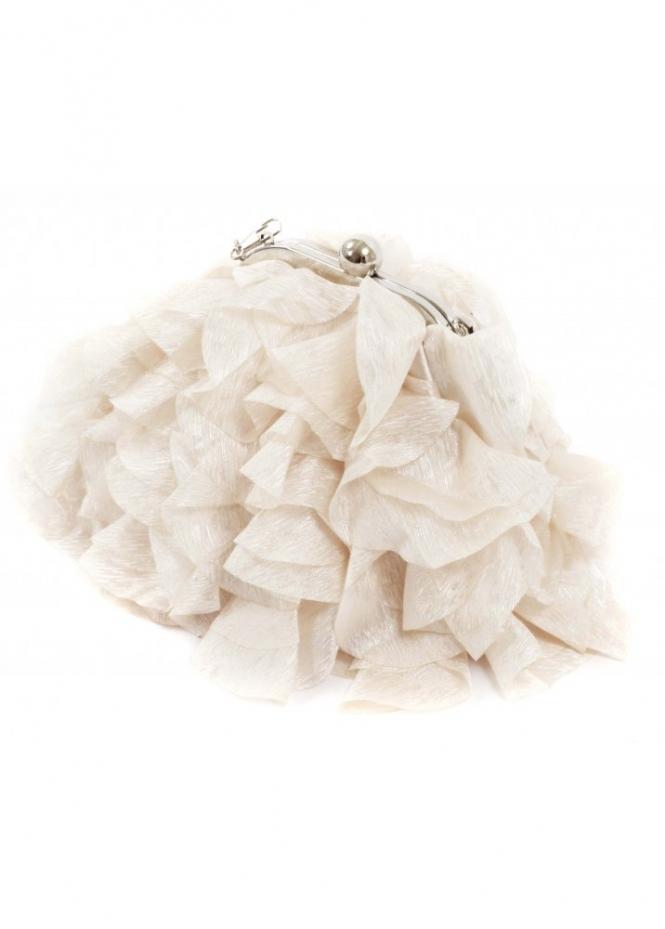 KoKo Bag Silky Satin Petals Champagne Evening Bag