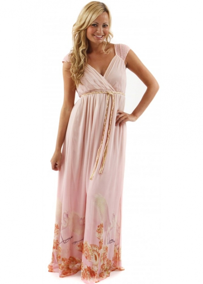 Traffic People Dress Seashell & Bird Blessings Printed Pink Silk Maxi Dress