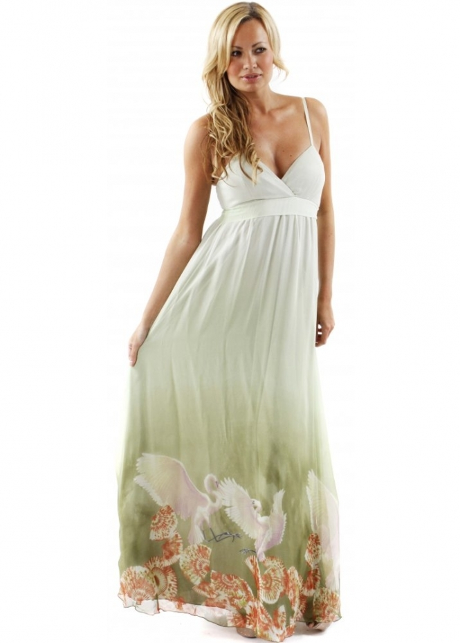 Traffic People Dress Seashell & Bird Printed Green Silk Maxi Dress