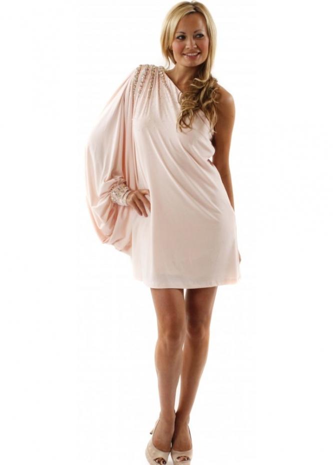 Forever Unique Dress Alina One Shoulder Drape Sleeve Embellished Mini Dress