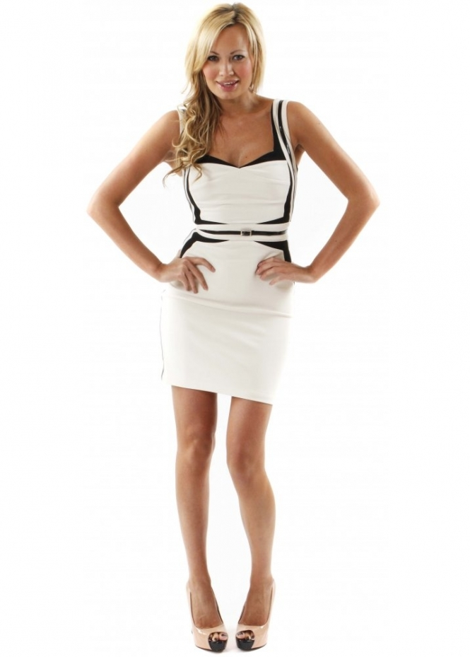 Forever Unique Dress Holly Geometric Ivory & Black Panelled Fitted Dress