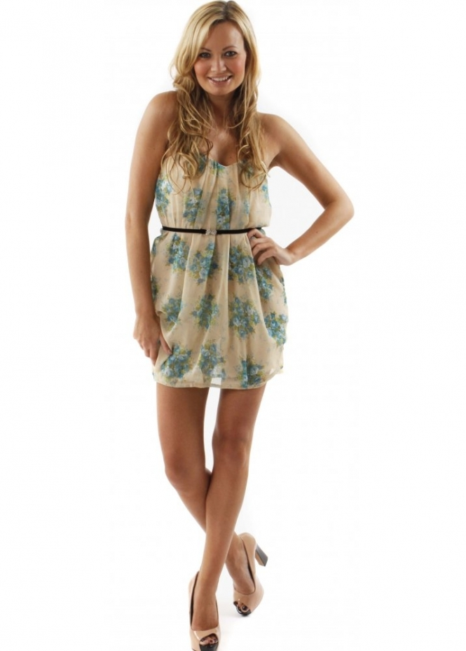 Jarlo Dress Nora Belted Floral Bandeau Chiffon Strapless Mini Dress