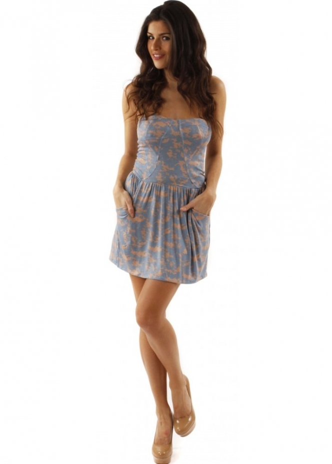 House Of Dereon Dress Blue Bandeau Jersey Floral Printed Mini Dress