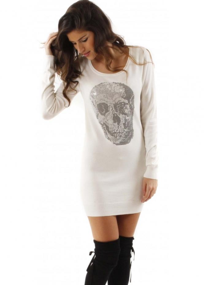 Designer White Skull Jumper Dress Crystal Skull Jumpers