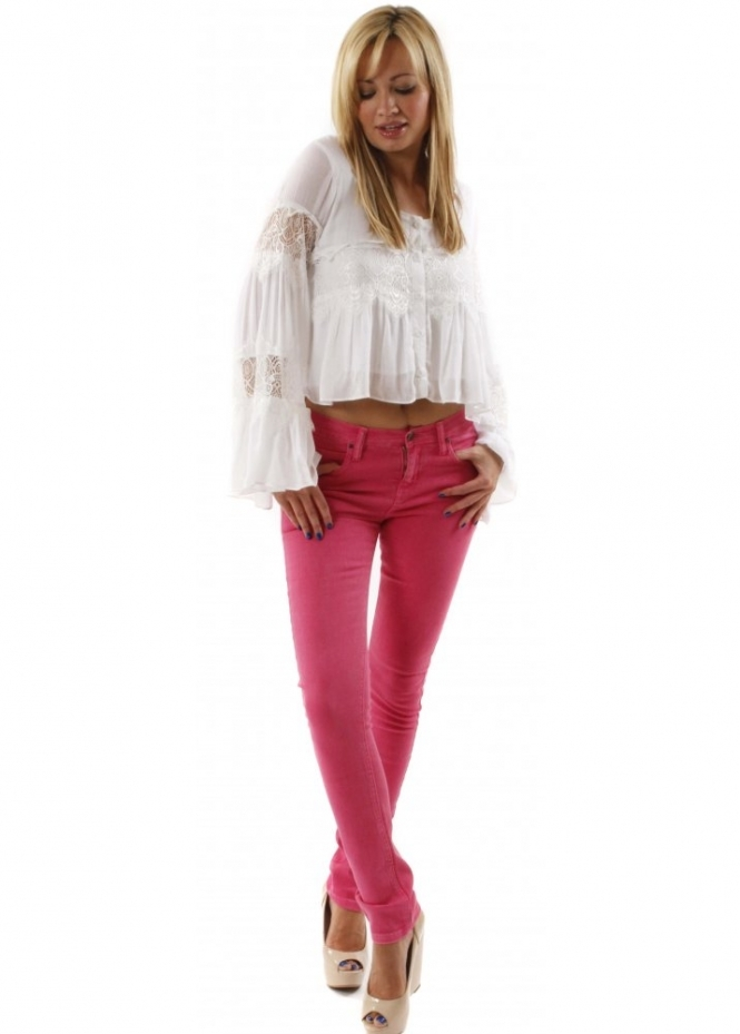Peoples Market Jeans Skinny Style Cotton Denim Stretch Pink Jeans