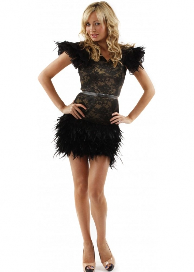 mcberry lace amp feather party dress mcberry feather