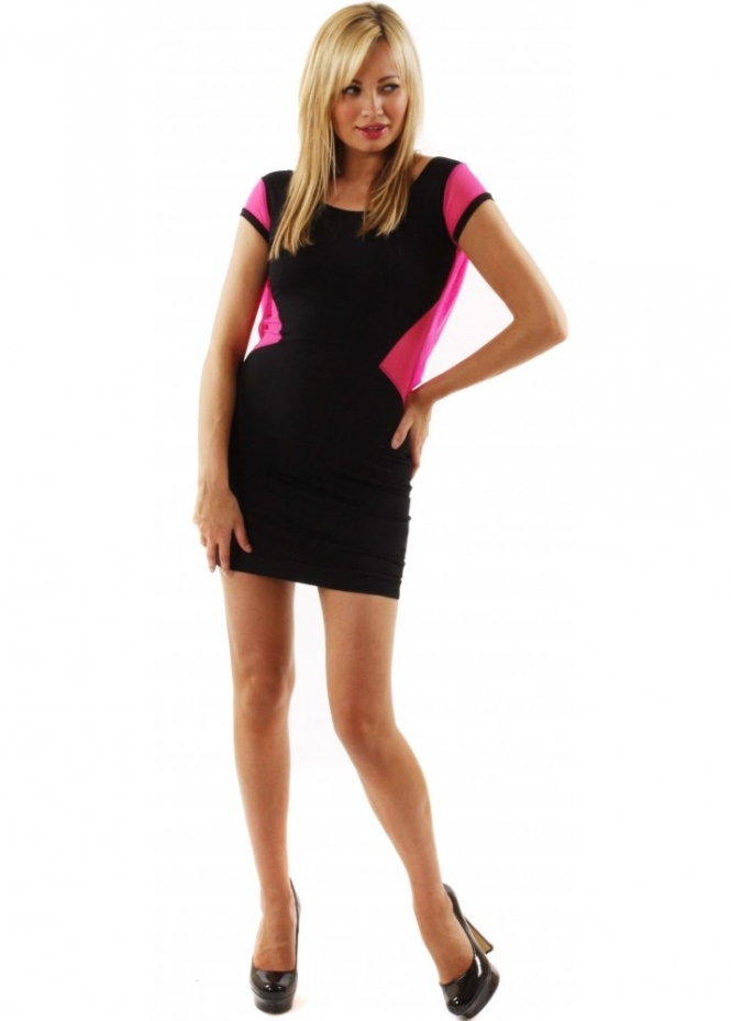Quontum Dress Mesh Strap Fluro Pink Cowl Back Detail Mini Dress