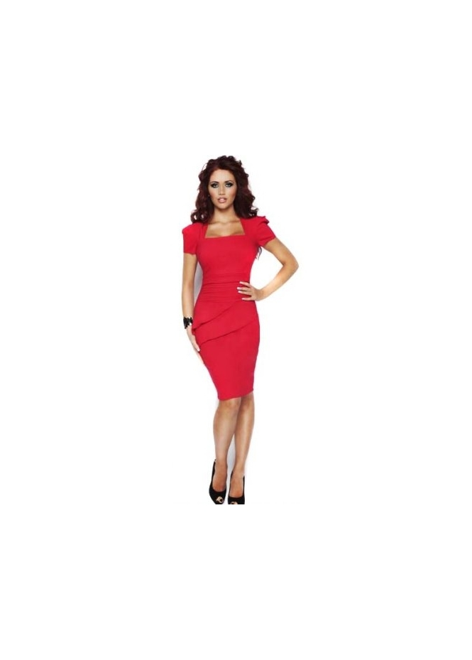 Pencil Dress on Amy Childs     Bridgette Dress Stretch Pleated Detail Red Pencil Dress