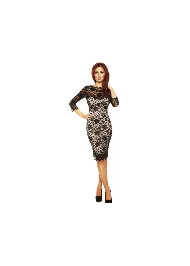 Black Lace Dress  Sleeves on Dresses     Amy Childs     Dress Lacey Long Sleeve Black Bodycon Lace