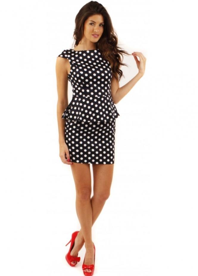 Ax Paris Navy Polka Dot Peplum Dress Ax Paris Dresses