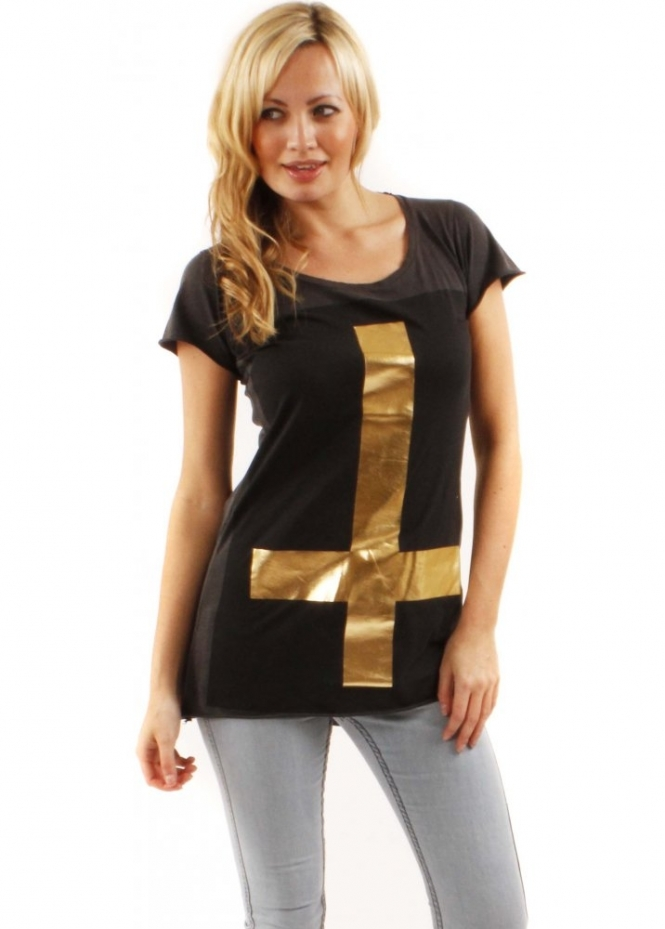 Sinstar Top Gold Cross Oversize Faded Black Cotton Tee