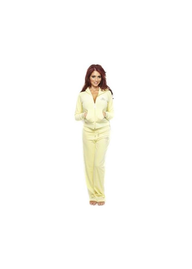 Women's Amy Childs Tracksuit Lemon Velour Diamante Trim Trousers & Top