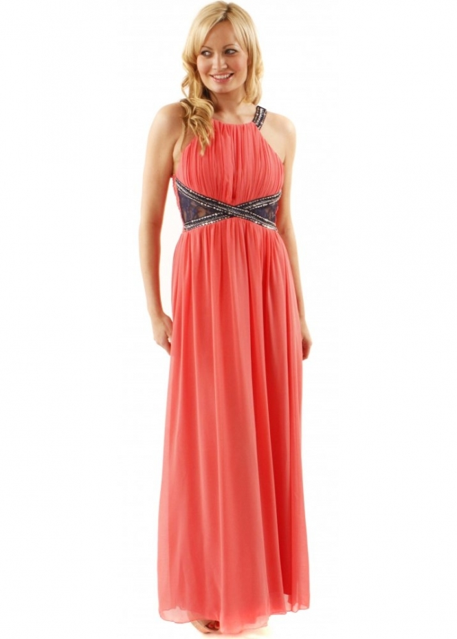 Little Mistress By Lauren Pope Embellished Lace Panel Coral Maxi Dress