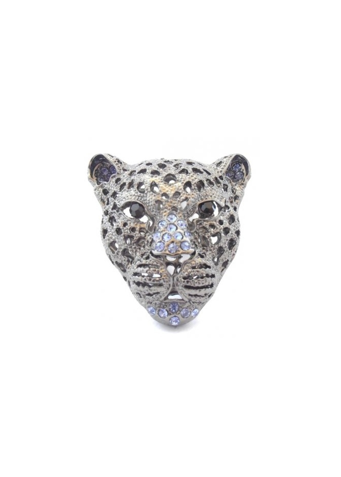Dainty Damsel Leopard Head Ring Black & Purple Czech Crystal Limited Edition