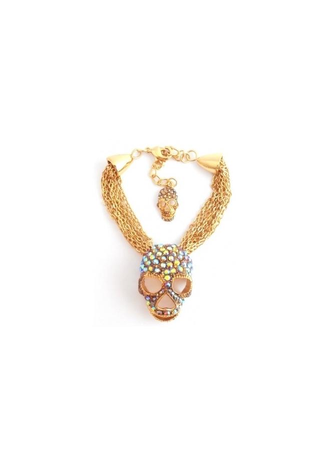 Dainty Damsel Skull Bracelet Gold & Smoked Topaz Czech Crystals Limited Edition