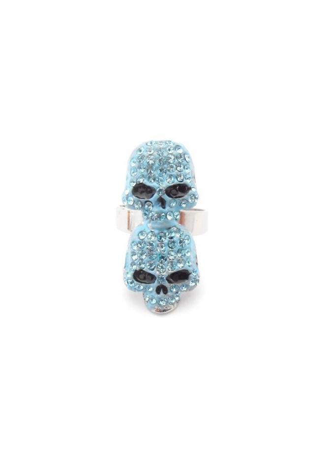 Dainty Damsel Two Skulls Ring Aqua Czech Crystals Limited Edition