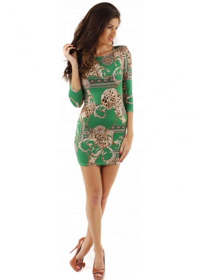 John Zack Dress Green Leopard Chain Print Bodycon Mini Dress