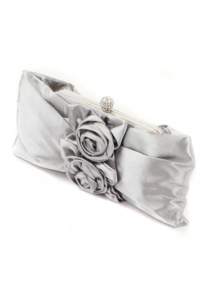 Bag Rose Applique Rosette Silver Satin Evening Bag