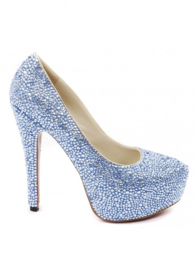 Lemonade Shoes Sky Blue Crystal Couture Glitzy High Heel Pumps