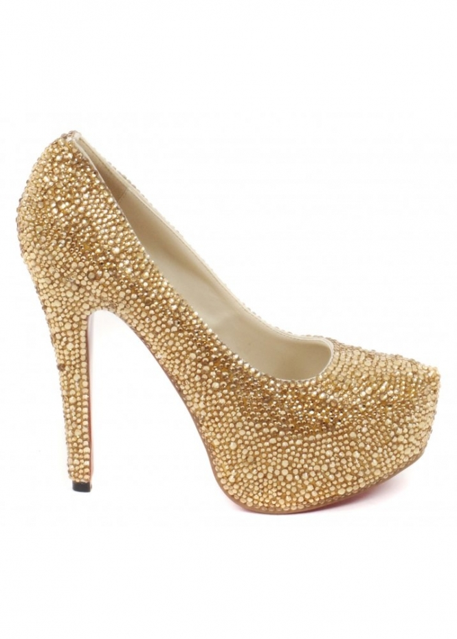 Lemonade Shoes Gold Crystal Couture Glitzy High Heel Pumps
