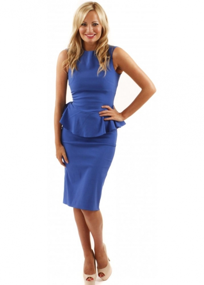 The Pretty Dress Company Blue Belgravia Peplum Dress As Seen On Lucy Mecklenburgh