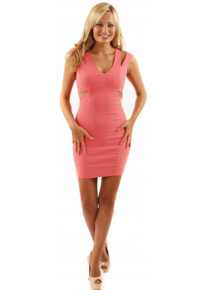 Hybrid Coral Jagger Dress Hybrid Coral Cut Out Mini