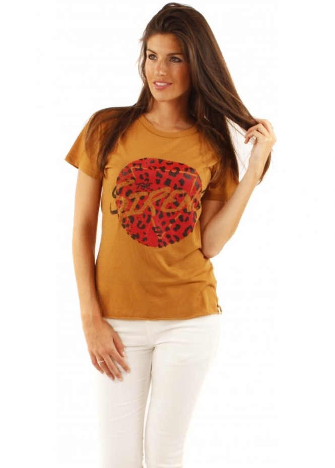 One Teaspoon T Shirt Sirens Joanie Cotton Tee In Mustard